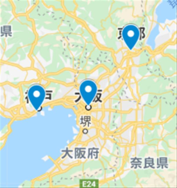 Googleマップ、複数ピン、イメージ
