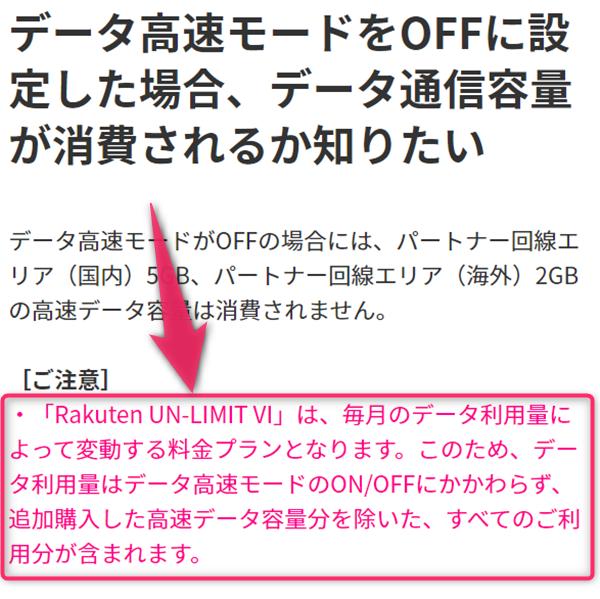 楽天モバイル、Rakuten UNLIMIT VI、低速モード、データ容量カウント