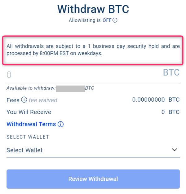 BlockFi、送金・出金時間