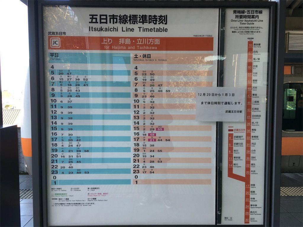 JR五日市線の時刻表