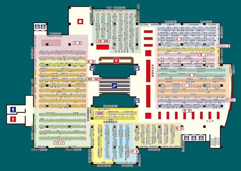 立川高島屋SC6Fにあるジュンク堂書店フロアマップ