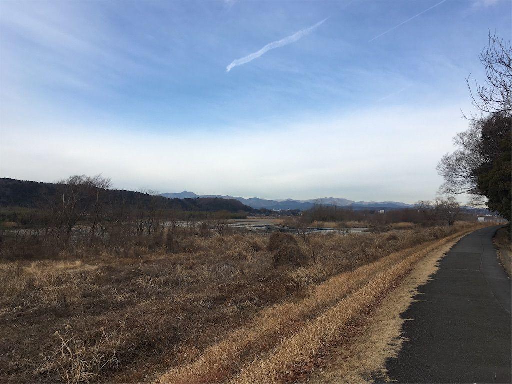 多摩川サイクリングロードの昭島市から見る風景