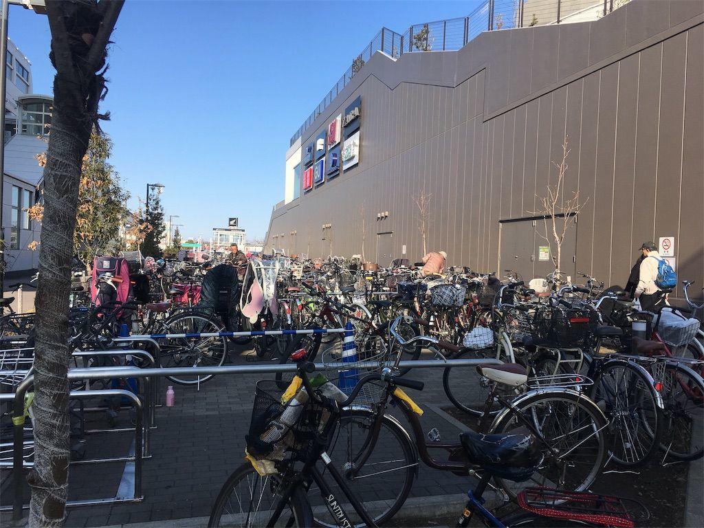週末は駐輪場もほぼ満車状態。