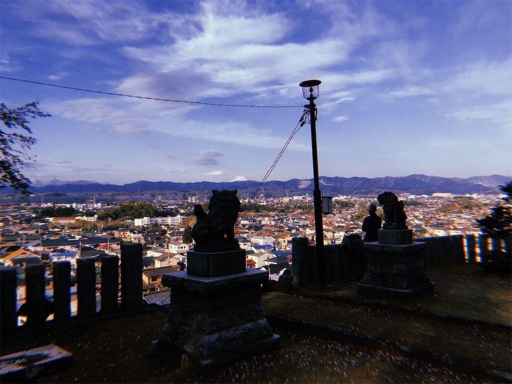 スマホアプリ「hujicom」で撮影した草花神社からみた富士山