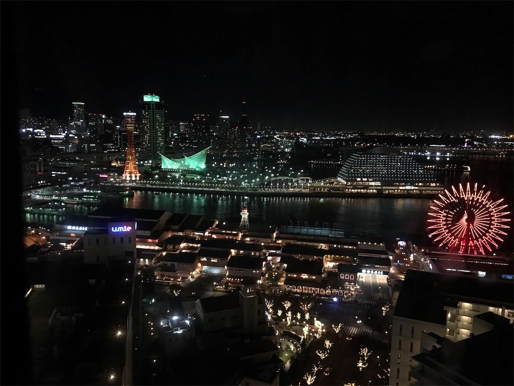 店内から見える神戸の夜景