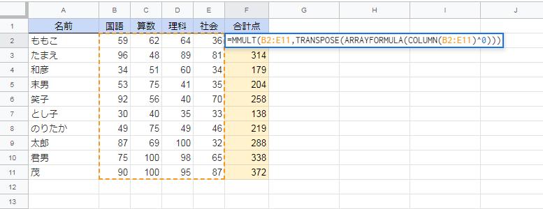 MMULT(B2:E11,TRANSPOSE(ARRAYFORMULA(COLUMN(B2:E11)0)))