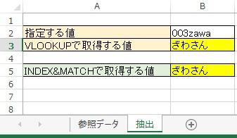 抽出シート003『INDEX』&『MATCH』関数式追加