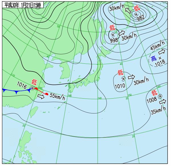 21日15時の実況天気図