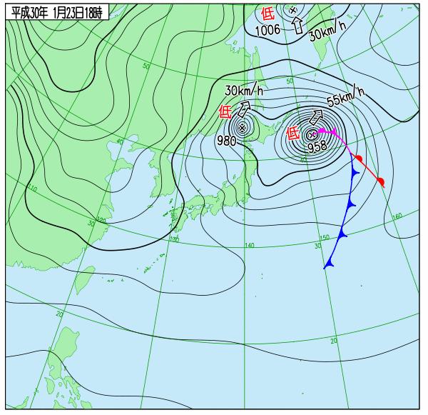 23日18時の実況天気図
