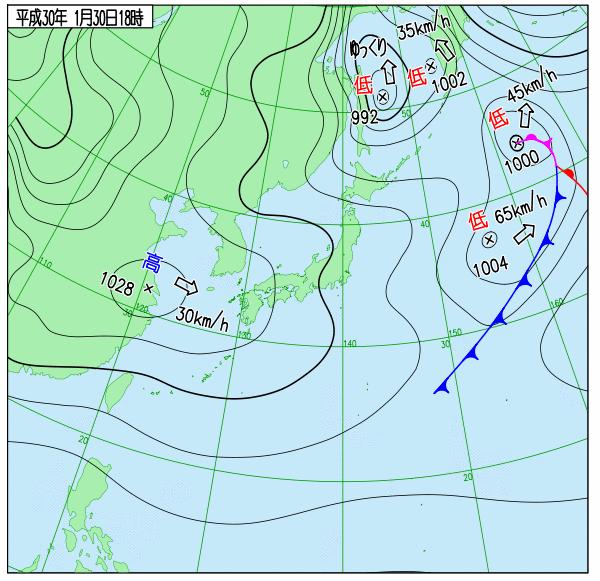 30日18時の実況天気図