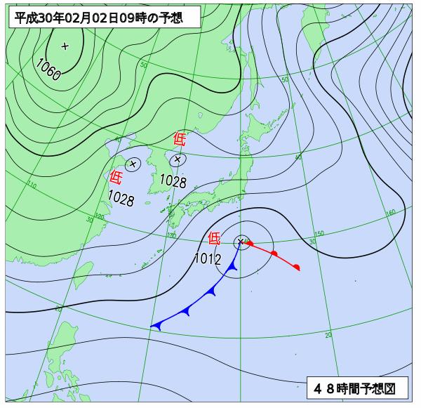 2日9時の予想天気図