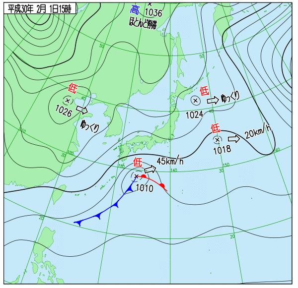 1日15時の実況天気図