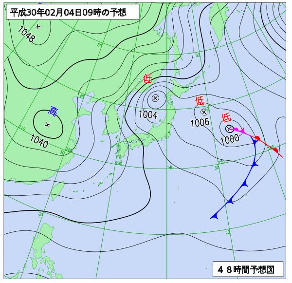 4日9時の予想天気図