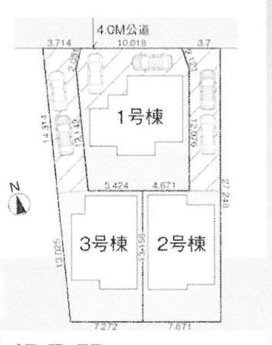 川越市山田新築戸建て建売分譲住宅の区画図