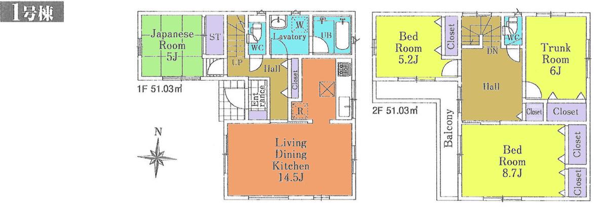 川越市的場(第32)新築一戸建て建売物件の間取り図