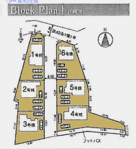 川島町中山新築一戸建て建売分譲住宅の区画図