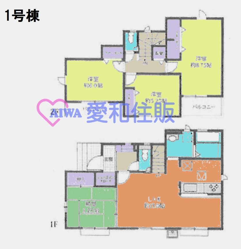 坂戸市緑町新築一戸建て建売分譲住宅の1号棟間取り図