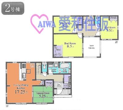 日高市南平沢新築一戸建て建売分譲住宅の2号棟の間取り図