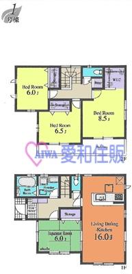 坂戸市本町新築一戸建て建売分譲住宅の1号棟間取り図
