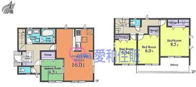 坂戸市本町新築一戸建て建売分譲住宅の4号棟間取り図