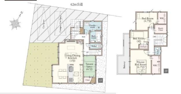 鶴ヶ島市中新田新築一戸建て建売分譲住宅の間取り図