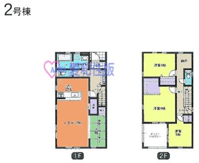熊谷市榎町新築一戸建て建売分譲住宅の2号棟間取り図