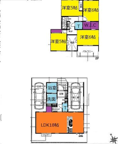 鶴ヶ島市脚折新築一戸建て建売分譲住宅の間取り図
