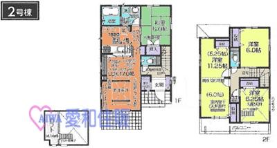 鶴ヶ島市富士見5丁目新築一戸建て建売分譲住宅の2号棟の間取り図
