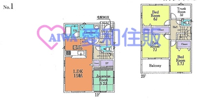 川越市山田新築一戸建て建売分譲住宅の1号棟の間取り図