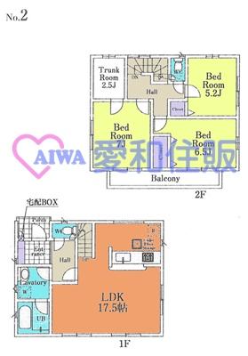 川越市山田新築一戸建て建売分譲住宅の2号棟の間取り図