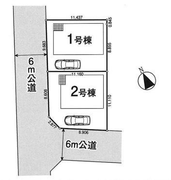 坂戸市末広町新築一戸建て建売分譲住宅の区画図