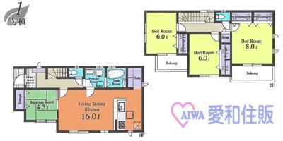 川越市小仙波町2丁目新築一戸建て建売分譲住宅の間取り図