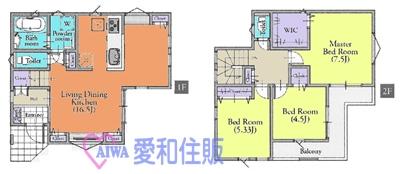 坂戸市関間3丁目新築一戸建て建売分譲の間取り図