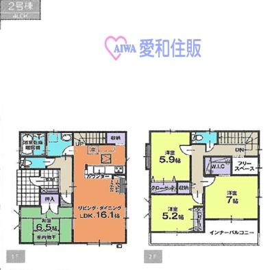 東松山市高坂新築一戸建て建売分譲住宅の2号間取り図