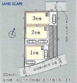 鶴ヶ島市太田ヶ谷新築一戸建て建売分譲住宅の区画図