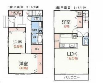 坂戸市西千代田2丁目新築一戸建て建売分譲住宅の間取り図