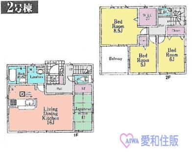 坂戸市泉町新築一戸建て建売分譲住宅の2号棟間取り図