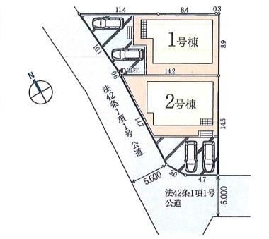 坂戸市浅羽野2丁目新築一戸建て建売分譲住宅の区画図
