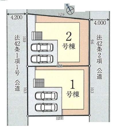 川越市安比奈新田新築一戸建て建売分譲住宅の区画図