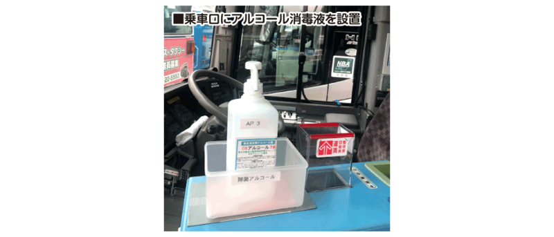 ■乗車口にアルコール消毒液を設置