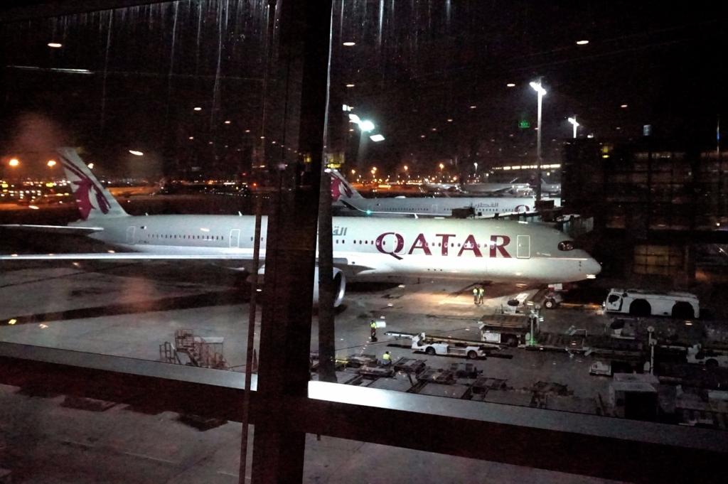 ドーハ空港にてカタール航空A380機体