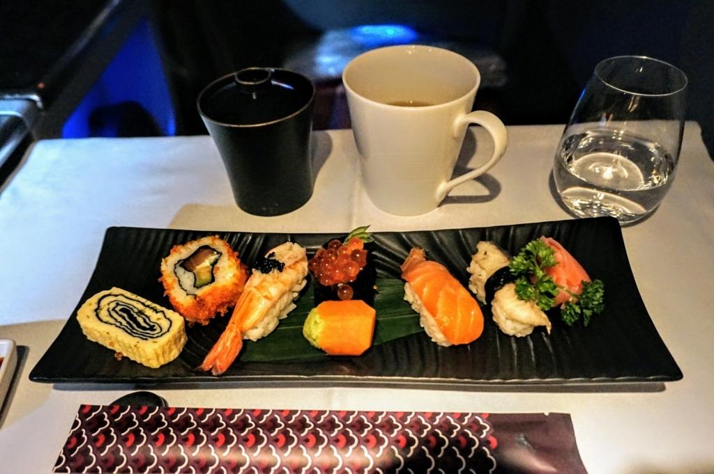 カタール航空ビジネスクラスお寿司