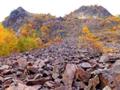 鉄平石の崩壊地