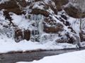 万座川の滝を訪問スノーシュー