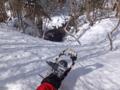 猟師道で行く地図にない滝の大氷爆 スノーシュー
