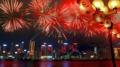 ビクトリア湾の花火中国では今日からお正月