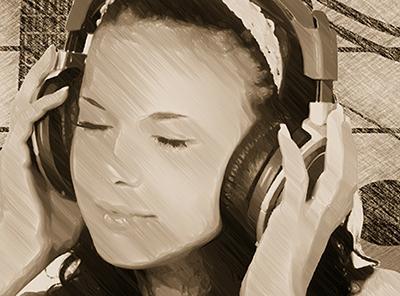 音楽を楽しむ女性
