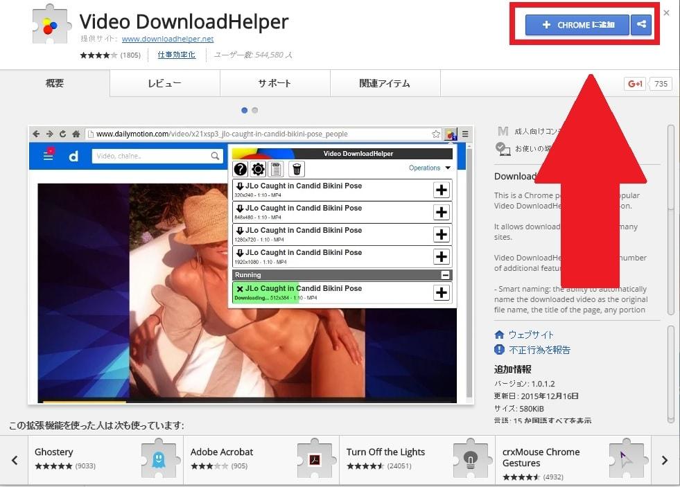 Google Chrome版のVideo DownloadHelperを日本語化する方法
