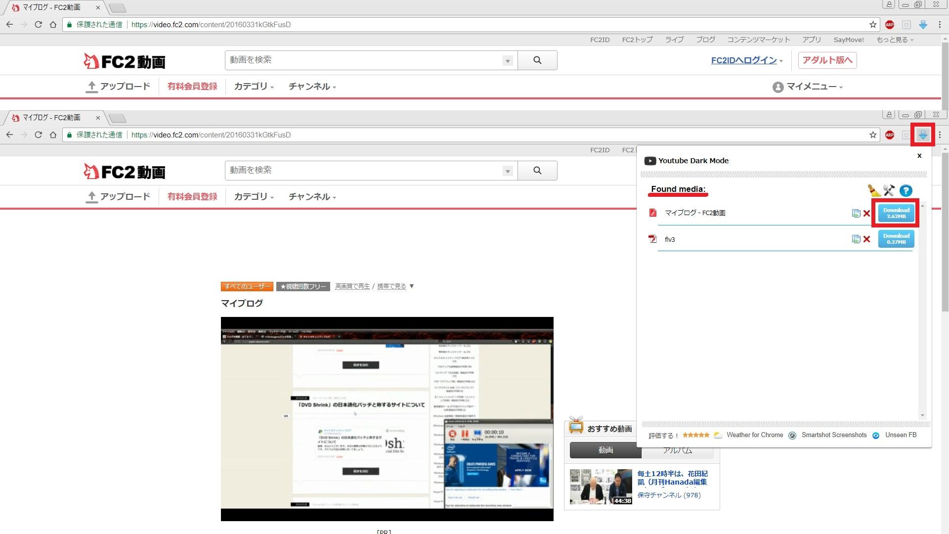 「Flash Video Downloader」のアイコンをクリックして実行画面を表示する
