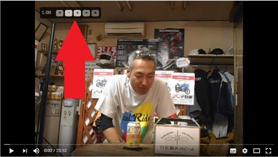 Youtubeの動画再生画面に表示されたVideo Speed Controllerのコントロール項目